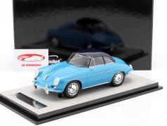 Porsche 356 Karmann Difícil parte superior año 1961 brillo ligero azul 1:18 Tecnomodel