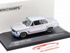 BMW 2002 Turbo (E20) Année de construction 1973 argent 1:43 Minichamps