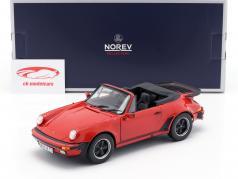 Porsche 911 (930) Turbo Cabriolet Byggeår 1987 rød 1:18 Norev