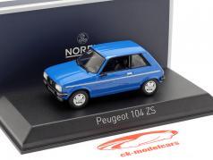 Peugeot 104 ZS Byggeår 1979 ibis blå 1:43 Norev
