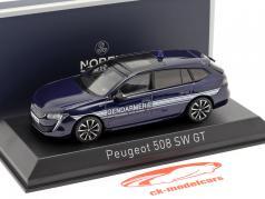 Peugeot 508 SW GT Gendarmerie år 2019 mørk blå 1:43 Norev