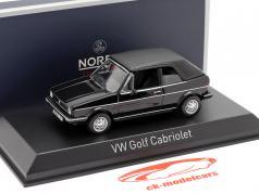 Volkswagen VW Golf Cabriolet Bouwjaar 1981 zwart 1:43 Norev
