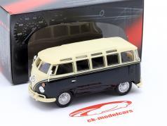 Volkwagen VW T1 Samba Bus met Tow Bar jaar 1950 zwart / beige 1:43 Cararama