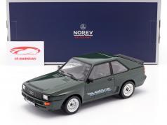 Audi Sport Quattro Met quattro sticker Bouwjaar 1985 donkergroen 1:18 Norev