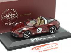 Porsche 911 Targa 4 S #50 Patrimoine Édition rouge cerise métallique 1:43 Minichamps