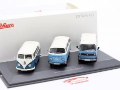 3-Car Set Volkswagen VW Transporter De Luchtgekoeld blauw / Wit 1:43 Schuco