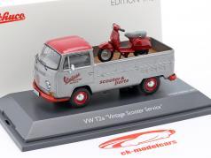 Volkswagen VW T2a Bus Vintage Scooter Service cinza prateado / vermelho 1:43 Schuco