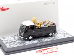 Volkswagen VW T1 皮卡车 圣诞 版 2020 黑色 / 白色 1:43 Schuco
