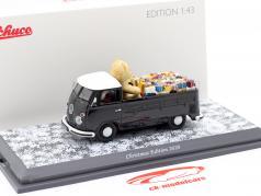 Volkswagen VW T1 Pick-up truck Kerstmis- Editie 2020 zwart / Wit 1:43 Schuco