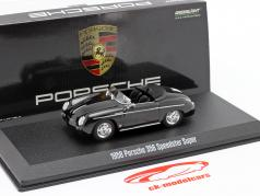 Porsche 356 Speedster Super Open Top Byggeår 1958 sort 1:43 Greenlight