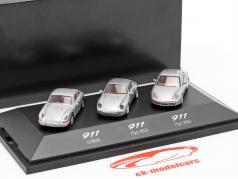 3-Car Set Porsche 911 (1964 / Typ 993 / Typ 996) silver gray 1:87 Herpa