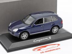 Porsche Cayenne S Mk1 Ano de construção 2002-2007 azul 1:43 Minichamps