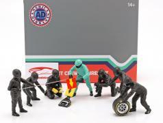 Fórmula 1 Cova equipe técnica personagens Set #1 equipe Preto 1:18 American Diorama
