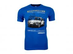 Porsche T恤衫 Porsche 911 S 的 帽子戏法 Adidas 蓝色