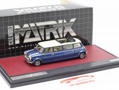 Mini Cooper Limousine year 1995 blue / white 1:43 Matrix