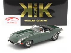 Jaguar E-Type Cabriolet Open Top Series 1 LHD 1961 donkergroen 1:18 KK-Scale