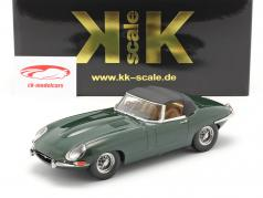 Jaguar E-Type Cabriolet Closed Top Series 1 RHD 1961 donkergroen 1:18 KK-Scale