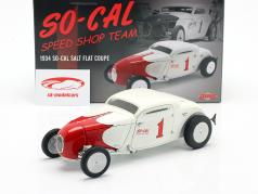 So-Cal Speed Shop Team 1 Salt Flat Coupe #1 1934 Wit / rood 1:18 GMP