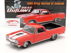 Chevrolet El Camino Drag Outlaw Bouwjaar 1965 rood / Wit 1:18 GMP