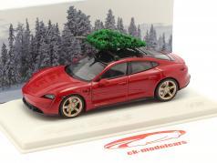 Porsche Taycan Turbo S karminrot mit Tannenbaum 1:43 Minichamps