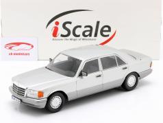 Mercedes-Benz 560 SEL S-klasse (W126) 1985 astraal zilver / Grijs 1:18 iScale