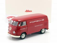 Volkswagen VW Typ 2 T1b Furgone box Porsche Renndienst rosso 1:18 Schuco