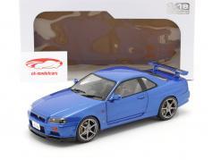 Nissan Skyline GT-R (R34) Ano de construção 1999 lado da baía azul 1:18 Solido