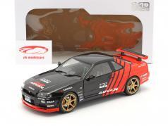 Nissan Skyline GT-R (R34) Advan Drift Bouwjaar 1999 zwart / rood 1:18 Solido