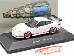 Porsche 911 (996) GT3 RS jaar 2003 wit / rood 1:43 Atlas