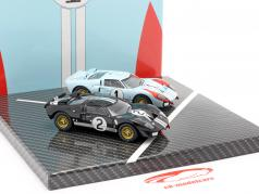 2-Car Set Ford GT40 MK II #2 #1 Vencedora e 2ª 24h LeMans 1966 1:43 CMR