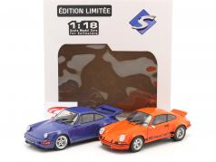 2台 セットする Porsche 911 Carrera RSR & Porsche 911 Carrera RS (964) オレンジ / 青い 1:18 Solido