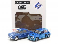 2 wagens set Renault R5 Turbo & Renault R8 Gordini blauw 1:18 Solido