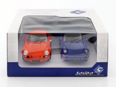 2 wagens set Porsche 911 Carrera RSR & Porsche 911 Carrera RS (964) oranje / blauw 1:18 Solido
