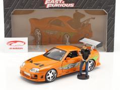 Brian's Toyota Supra 1995 Film Fast & Furious (2001) Met figuur 1:18 Jada Toys