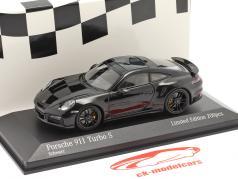 Porsche 911 (992) Turbo S year 2020 black / black rims 1:43 Minichamps