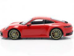 Porsche 911 (992) Carrera 4S Byggeår 2019 vagter rød 1:18 Minichamps