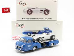 Set: Mercedes-Benz Ras Auto Transporter Blauw zich afvragen Met Mercedes-Benz W196 1:18 iScale