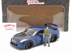 Brian's Nissan GT-R (R35) 2009 Fast & Furious 7 (2015) Met figuur 1:18 Jada Toys