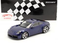 Porsche 911 (992) Carrera 4S Byggeår 2019 gentian blå 1:18 Minichamps