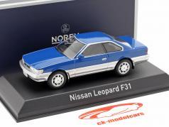 Nissan Leopard F31 jaar 1986 blauw / zilver metalen 1:43 Norev