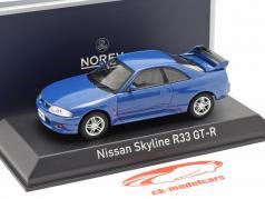 Nissan Skyline R33 GT-R jaar 1995 blauw metalen 1:43 Norev