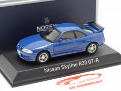 Nissan Skyline R33 GT-R year 1995 blue metallic 1:43 Norev