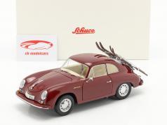 Porsche 356A Carrera Coupe Vacanza sugli sci buio rosso 1:18 Schuco