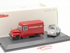2-Car Set Opel Blitz 1,75t rojo y Porsche 356 #110 plata 1:43 Schuco