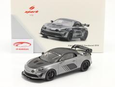 Alpine A110 GT4 Goodwood 2018 zilver metalen / zwart 1:18 Spark