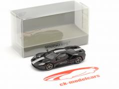 Ford GT year 2018 black with silver stripes 1:87 Minichamps