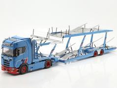 Set Scania V8 730S Com Lohr Transportador de carro Mosolf 1:18 NZG