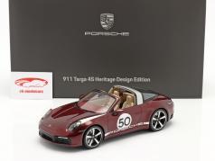 Porsche 911 (992) Targa 4S Heritage Edition #50 2020 kers- rood 1:18 Spark