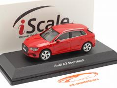 Audi A3 Sportback Baujahr 2020 tango rot 1:43 iScale