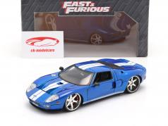 Ford GT Filme Fast and Furious 7 2015 azul / Branco 1:24 Jada Toys